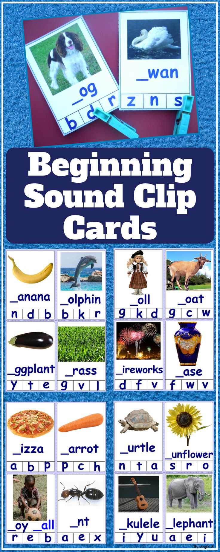 Beginning Letter Activity is great for literacy stations or as an activity for early finishers. It allows children to engage their pre-reading skills (phonemic awareness) by identifying beginning letter sounds of various images. It is also perfect for children with Autism and a Special Education classroom. #phonics #letters #clipcards #activity #tpt #teacherspayteachers #sounds For more resources follow https://www.pinterest.com/angelajuvic/autism-and-special-education-resources-angie-s-tpt/