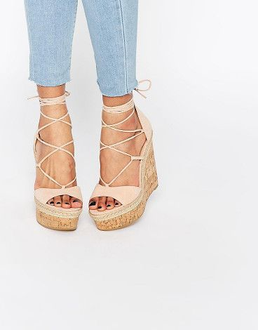 Tammi lace up wedge sandals by Asos. Wedges by ASOS Collection Textile upper Open toe Cross strap fastening Wrap tie closure Woven tri...