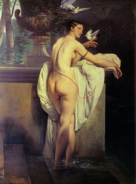 Η μπαλαρίνα Καρλότα Σαμπέρ σαν Αφροδίτη παίζει με δυο περιστέρια (1830)