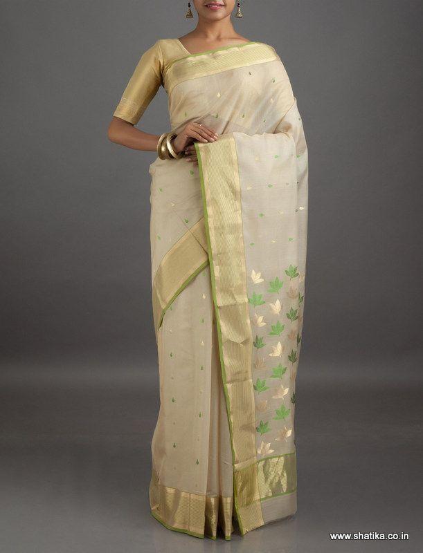 Neysa Cream Gold Flowers Mercerized #ChanderiSilkCottonSaree