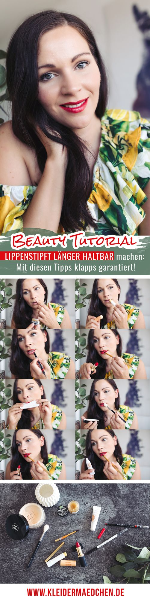 Lippenstift auftragen, Lippenstift länger haltbar machen, Sommer-Lippenstifte, Kleidermaedchen Modeblog, Magazin, erfurt, thueringen, berlin, Beautyblog, kleidermaedchen.de, Influencer Marketing und Kommunikation, Beauty, Beauty-Tutorial, Rote Lippen im Sommer, Sommerlippenstift, L.O.V Lipaffair Lip Definer, Chanel Poudre Universelle Libre, Zoeva 134 Luxe Powder Fusion, Lush Lip Scrub Mint, Weleda Lip Balm Nude, Weleda Lippenpflege Everron, Jacks Beauty Line Lippenpinsel, L'oreal Color Riche…