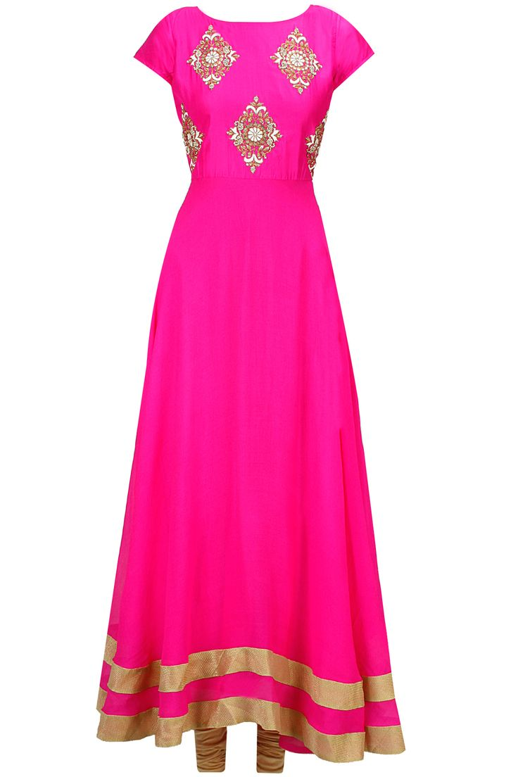 Pink floral motifs embroidered anarkali set available only at Pernia's Pop-Up Shop.