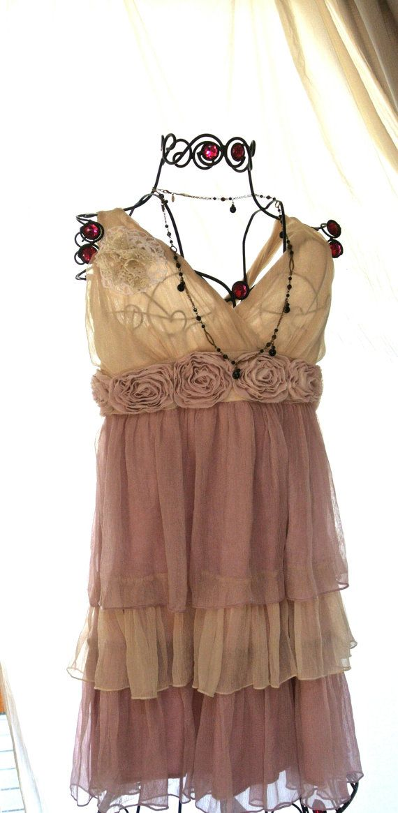Romantic Shabby chic Pink Ruffle dress by TrueRebelClothing, $72.00