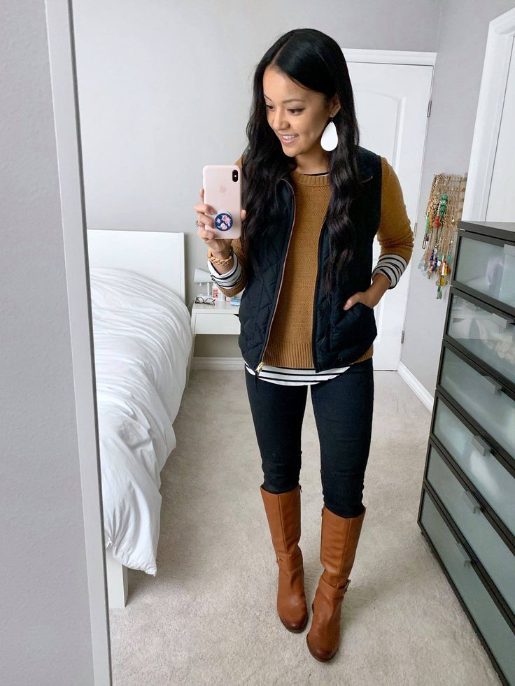 6 Outfits With a Black Quilted Vest + 6 Quilted Vest Options