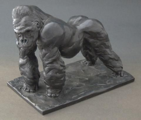 """Silverback Gorilla"" Sculpture by Edward Waites. This sculpture has been produced as a limited edition of just 12, each individually signed and numbered. ""Silverback Gorilla"" has been cast in bronze using the lost wax process."