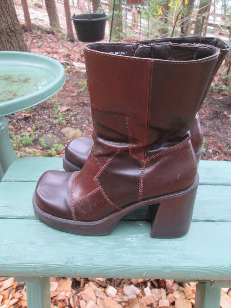 Totally hip grunge David Bowie 1990 faux leather brown patchwork leather side zip short platform boots LEI label. Size 8 Sqare toe Like new by MrsHummelsBasement on Etsy