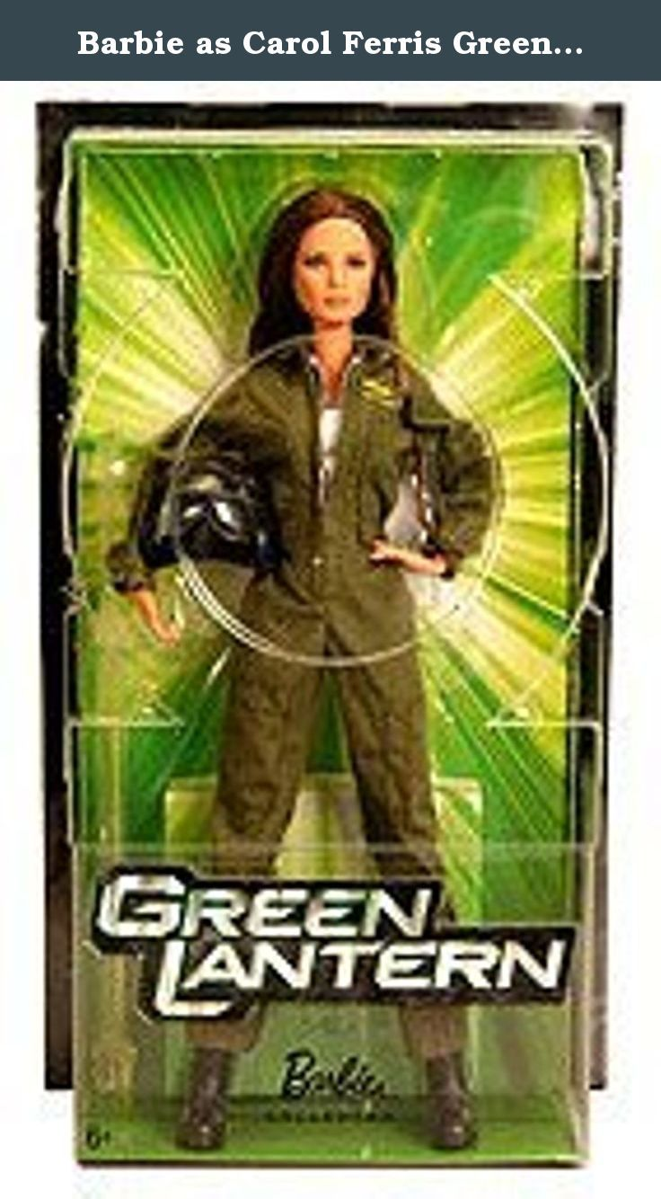 Barbie as Carol Ferris Green Lantern Movie Doll 2011 SDCC Exclusive by Mattel. Landing in special action figure-inspired packaging, it's Barbie as Carol Ferris, lifelong friend and childhood sweetheart of Green Lantern hero Hal Jordan. Dressed in her green flight suit with a working zipper, she comes with her pilot helmet that features the Sapphire logo and Star Sapphire icon. Painted to the likeness of the actress who portrays Carol in the highly popular film, she also features an...