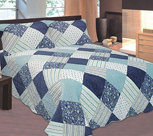 LA Rug Linens 3 PCS Queen Size Quilt Set Blue White Multi Color Modern Design Bedspread Bed Coverlet
