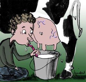 Rauwe melk kopen bij de boer. Afbeelding: Danibal