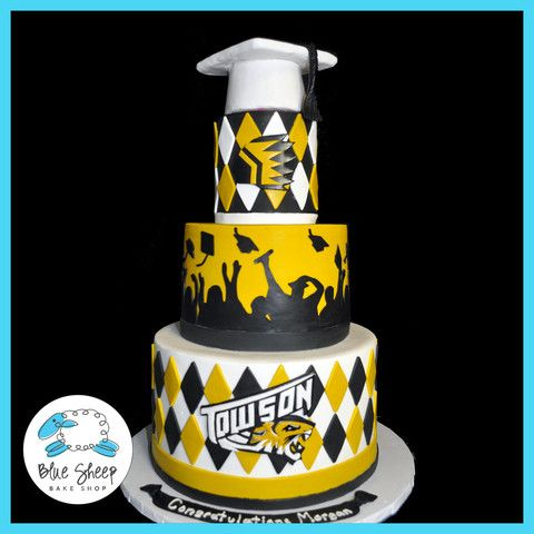 Towson University Graduation Cake  -by Blue Sheep Bake Shop, Custom Cakes in NJ - like us on facebook! https://www.facebook.com/bluesheepbakeshop