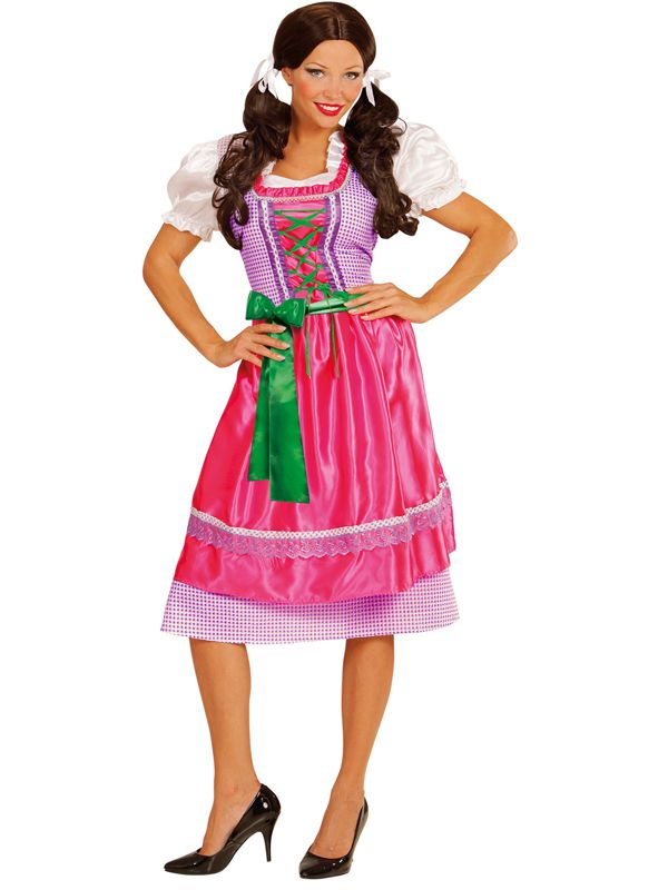 Tyrolerkjole Lyselilla og rosa - Oktoberfest kostyme