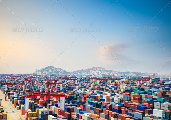 Container Yard At Dusk Image Of The Day Shanghai Stock Photos