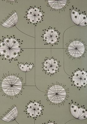 Dandelion Mobile French Grey with White Wallpaper by MissPrint