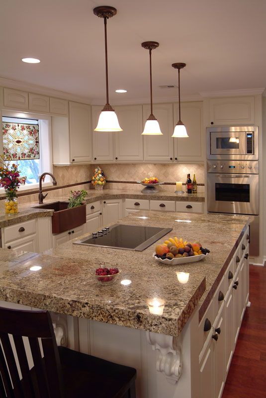 """Juperana Persia Granite Countertops & Matching Multi-Level Island Countertops; All With ICM's Trademark 2"""" Mitered Edges.  This Countertop Edge Gets Noticed!"""