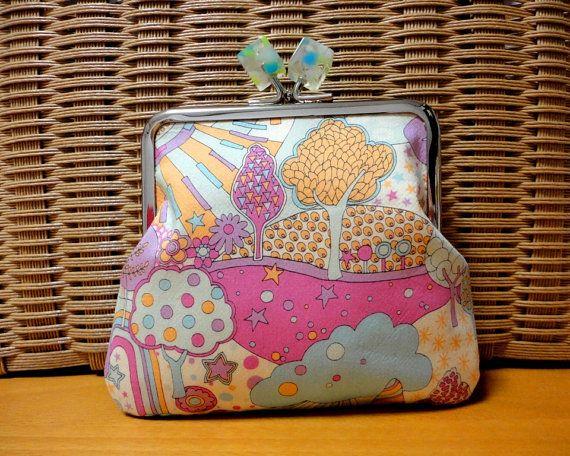 Unique Clasp purse  Liberty fantasy pink by SpringFlavor on Etsy, $19.00