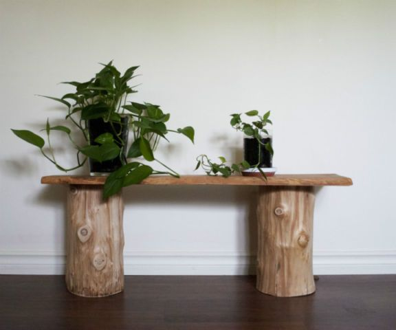 Table d corative en rondins log table d coration for Kijiji montreal meuble de jardin