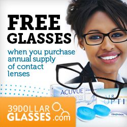 FREE pair of glasses valued at $39 FREE standard shipping when you purchase an annual supply