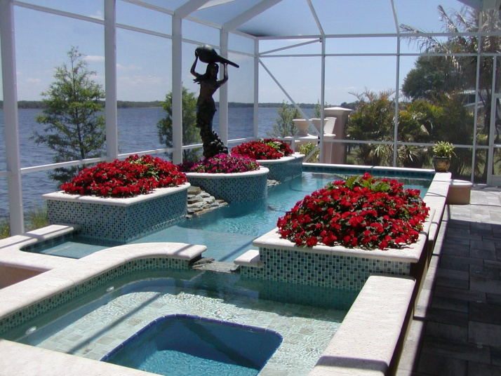 Large planters built in the swimming pool pool designs for Large swimming pool designs
