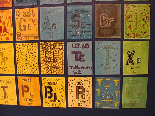 Eric Azcuy's art project: giant periodic table of elements. Could do a clay mural for the science area with this as a theme. Maybe collaborate with one of the science teachers?