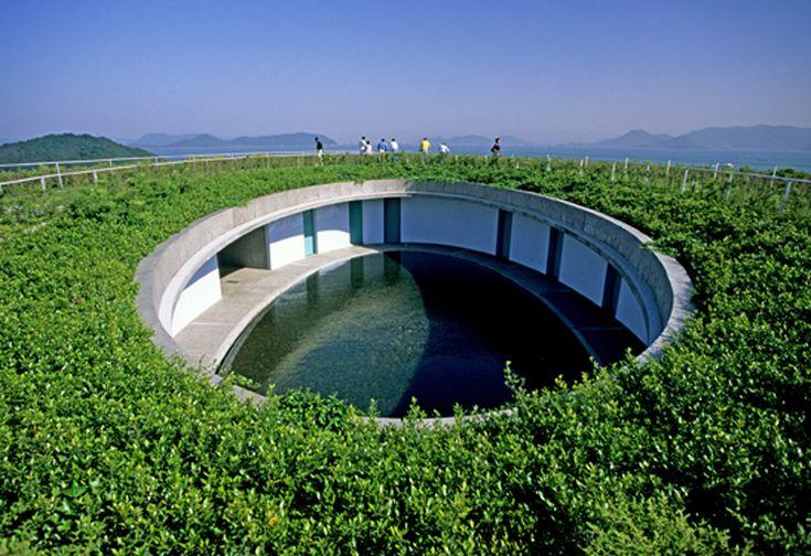 Green roof of Noshina Hotel on Naoshima Island, Kagawa prefecture, designed by Tadao Ando, 1997.