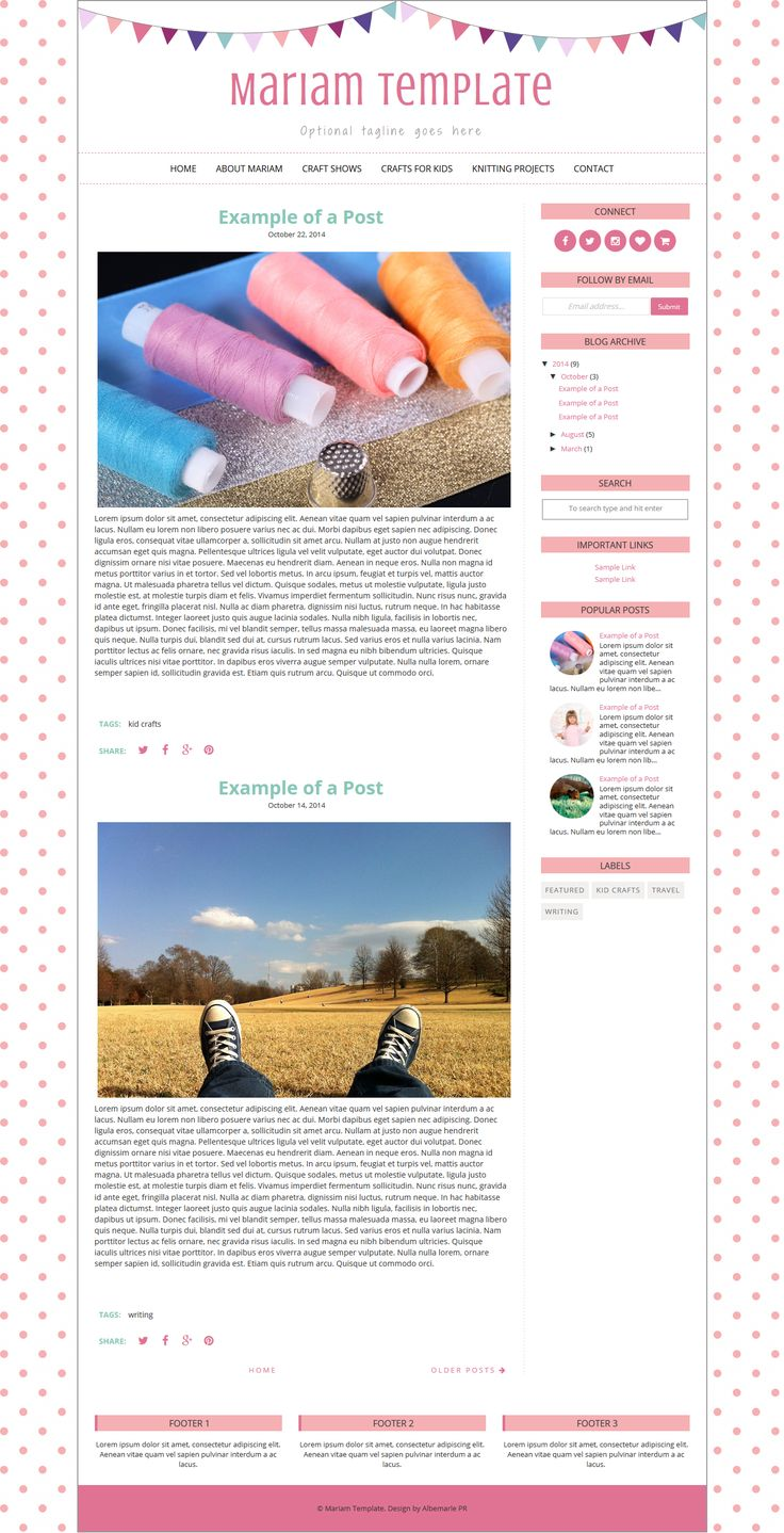 Mariam Blogger Template is a premade blogger template by Albemarle PR. It features a colorful bunting image.