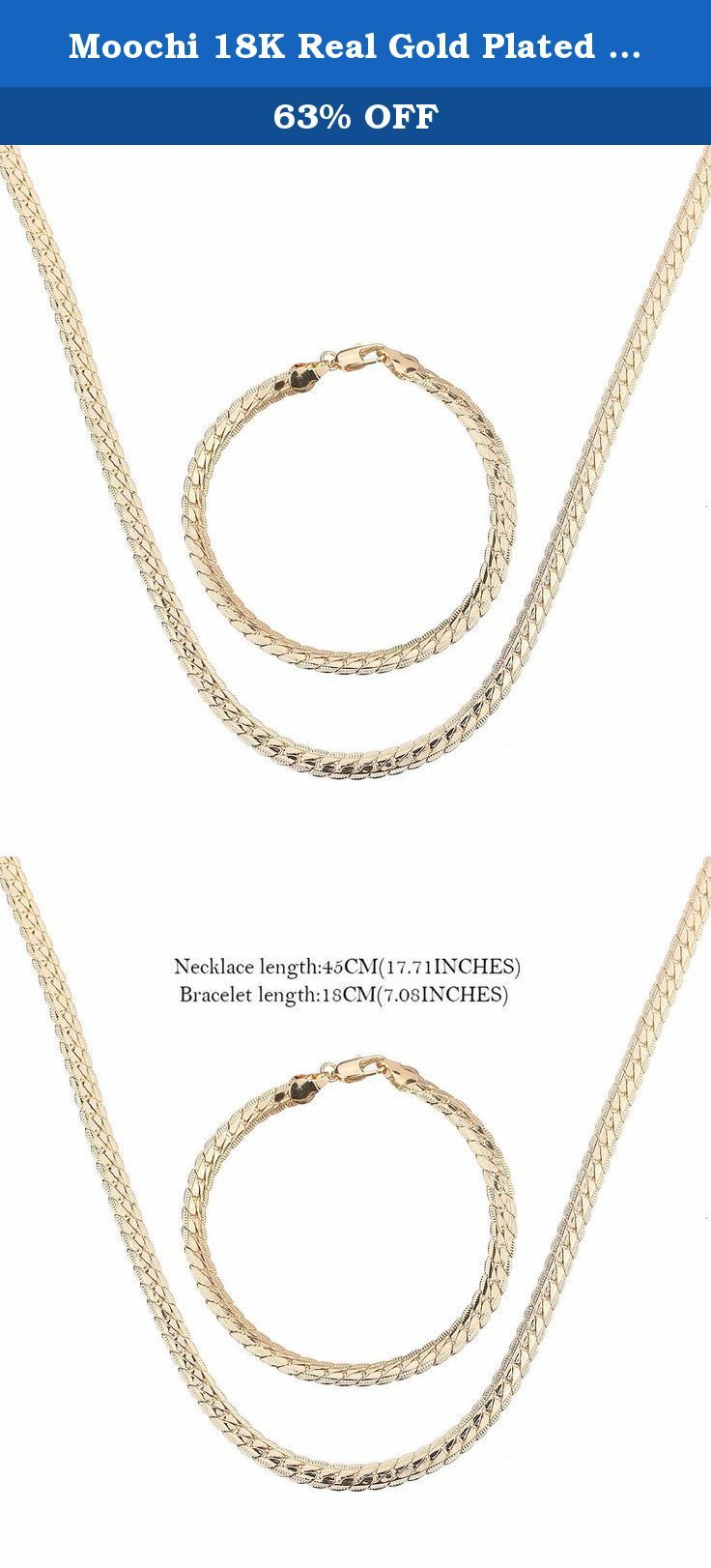 Moochi 18K Real Gold Plated Long Snake Curb Chain Necklace Bracelet Jewelry Set. This gold plated jewelry set is shinning and beautiful. The color will not fade and we have one year warrant. It is the best gift for yourself, your friends and family.