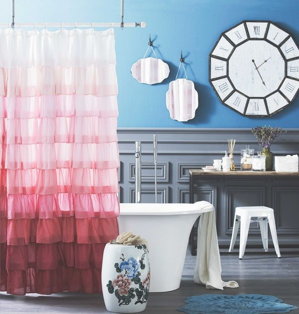 how to make bathroom more expensive ruffled shower curtain
