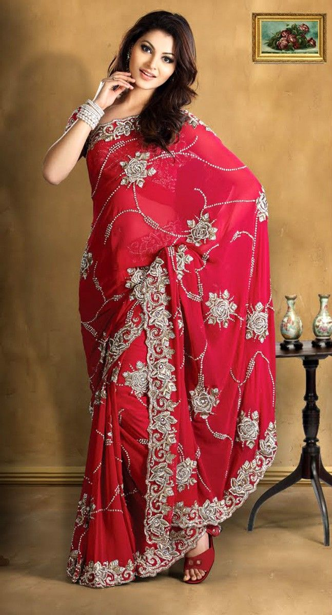 Magnificant Red Pure Georgette Embroidered Saree. SEE NOW >> http://www.gravity-fashion.com/3446-magnificant-red-pure-georgette-embroidered-saree.html