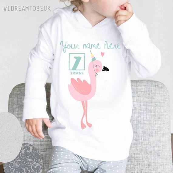 Personalised 1st birthday hoody pink flamingo baby hoody