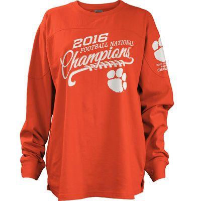 Clemson Tigers Women's College Football Playoff 2016 National Champions Long Sleeve Big Shirt - Orange