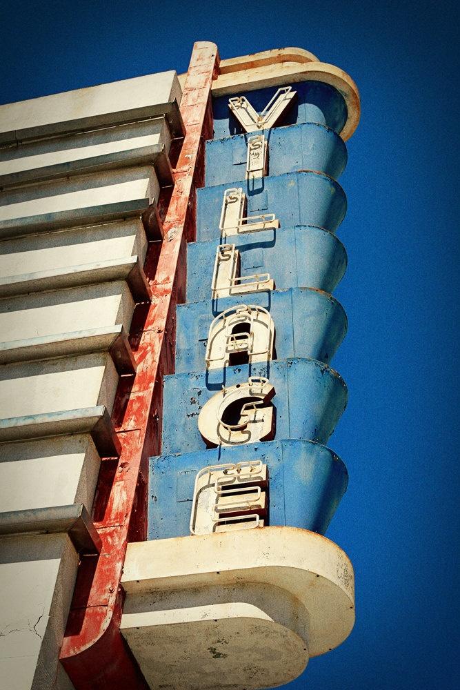 vintage coronado village theater neon sign san diego home decor movie lovers gift retro typography fine art photography - San Diego Home Decor