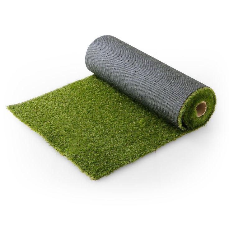 Amazon   芝生 人工芝 4種のMIX葉 リアル ロール マット 長め毛足 3.5cm U字ピン付 幅1m×5m フレッシュグリーン   人工芝