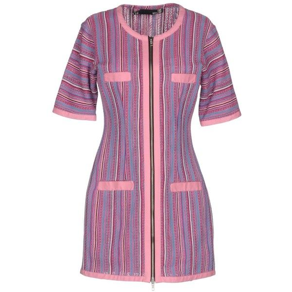 Love Moschino Short Dress (£149) ❤ liked on Polyvore featuring dresses, pink, purple mini dress, purple dresses, pink mini dress, 3/4 sleeve short dress and pink tube dress