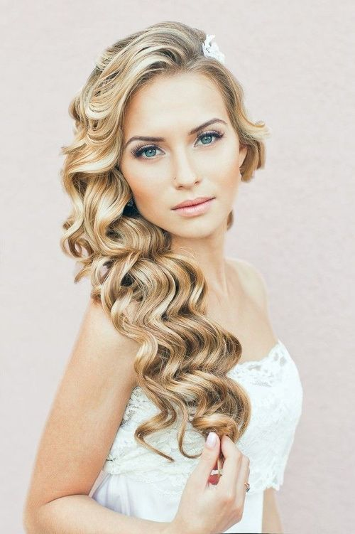 side curly downdo for wedding
