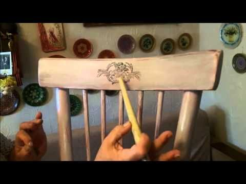 Декупаж деревянного стула (Дачный Прованс-2). Шаг 3 - YouTube