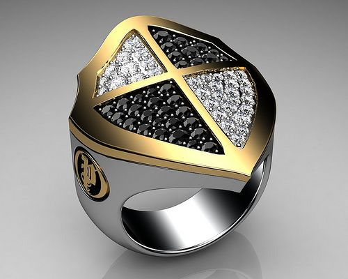 Unique Mens Ring Cross Shield Ring Sterling Silver and Gold with Black and White Diamonds By Proclamation Jewelry