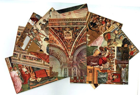 CHRISTMAS Ecclesiastical Postcards , Paper Ephemera, Collage, Decoupage, Scrap Booking, Greeting Cards, Vintage Decorating