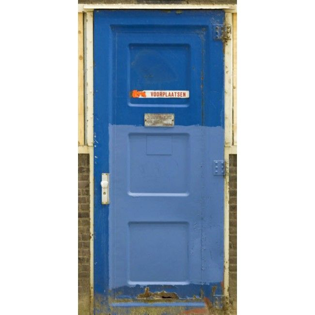 Stunning Blue Metal Door Entrance High Quality Removable Wall Mural