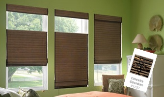 Celestra Obsidian Signature Series Woven Wood Shades Are