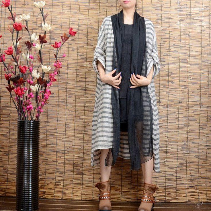 Women's stripe cardigan linen long coat