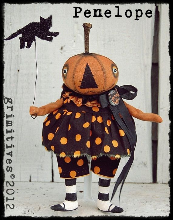 Primitive Halloween Pumpkin Doll by GRIMITIVES on Etsy