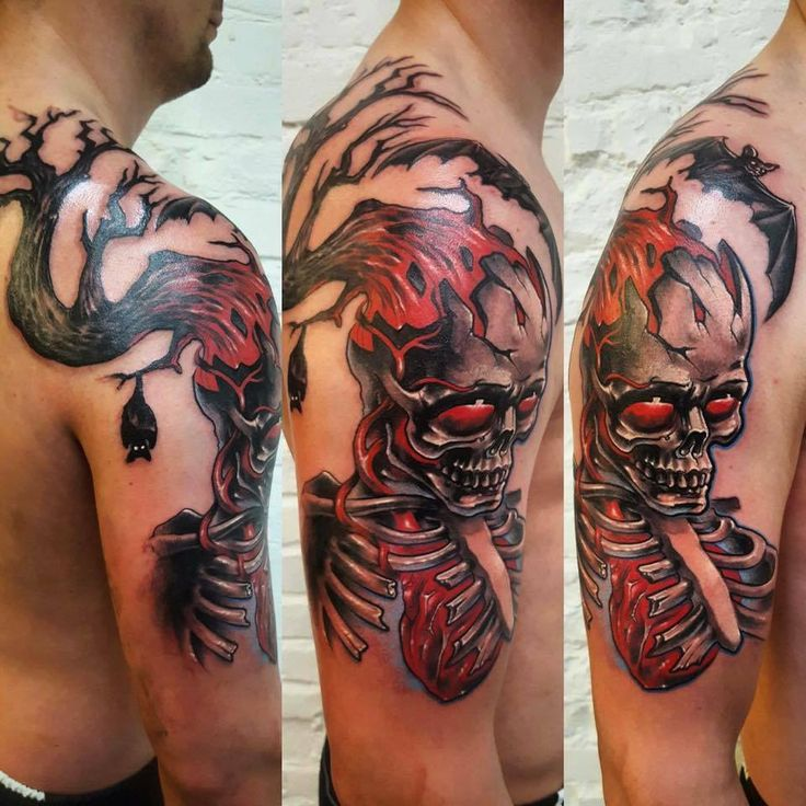 skull tattoo, arm tattoo, back tattoo, 77ink