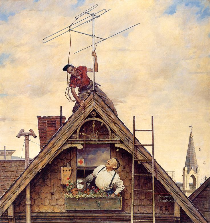 """""""New Television Antenna"""",1942-Norman Rockwell"""