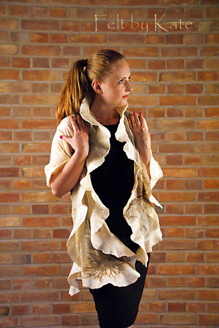 "Felted shawl ""Dandelions"": silk, merino wool, passion. www.facebook.com/FeltbyKate"