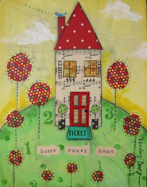 so cute!Mixed Media House, Little House, Painting Art, Painting Collage, Sweets House, Collage Painting Of House, Collage Art Journals House, Mixed Media Art, Art Painting