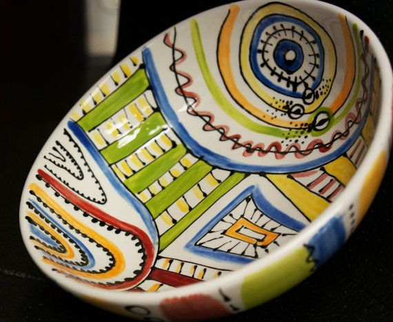 Fiesta Fun Hand Painted Ceramic Bowl with by TheWhimsicalWays, $27.95