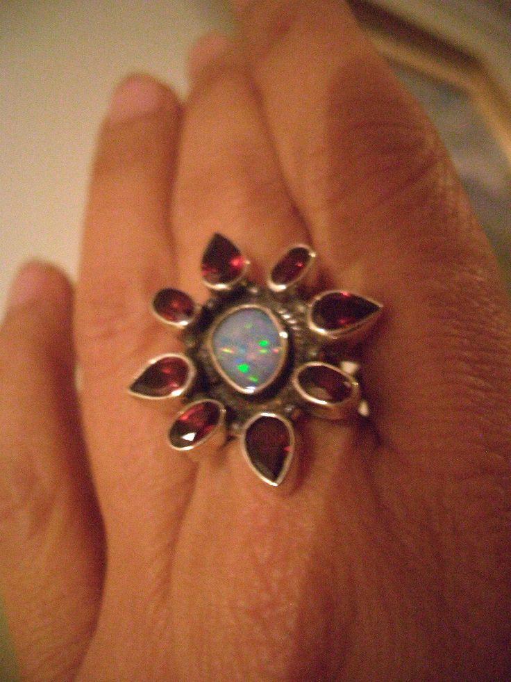Sz  < Flower of  Genuine AUSTRALIAN Fire OPAL Doublet and GARNET Gemstones, 925 Solid Sterling Silver Fantastic and Feminine Statement Ring by Ameogem on Etsy