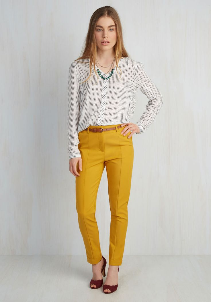 Situationally Savvy Pants in Mustard - Yellow, Solid, Casual, 80s, Minimal, Spring, Variation, Colorsplash, Nautical, Work, Tapered Leg, High Rise, Ankle, 60s