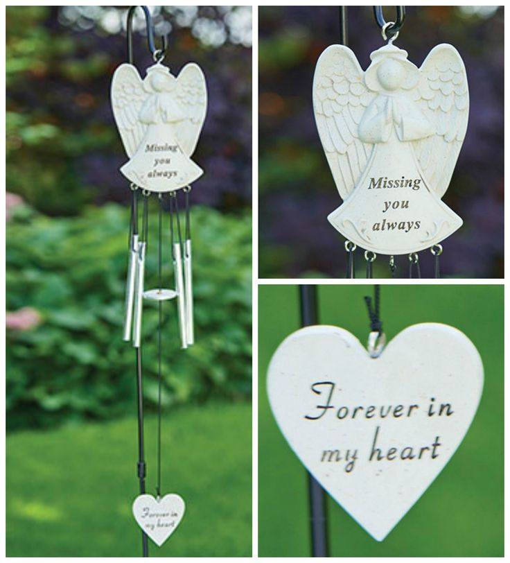 Angel Wind Chime £10  Remember family and friends with this angel-shaped resin windchime. Perfect for graves and #memorials. Stake in ground by a grave or #memorial for a lasting tribute to their #memory H50 x W7 x D1.5cm. Made from resin.