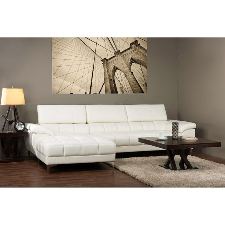 Baxton Studio Sosegado Sectional Sofa - White - The brilliant Baxton Studio Sosegado Sectional Sofa - White features bright white bonded leather with dapper grid tufting. Not just stylish, this ...
